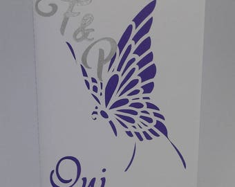 Original profile Butterfly wedding invitation