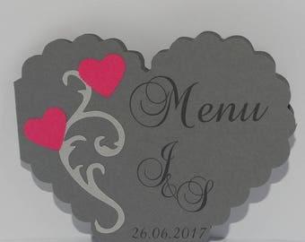 Menu arabesque printed heart