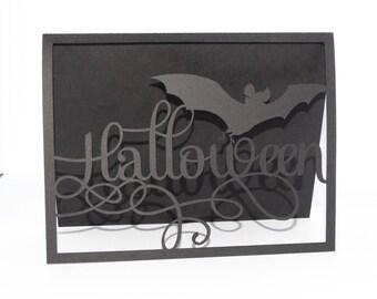 Card Halloween bat mouse black