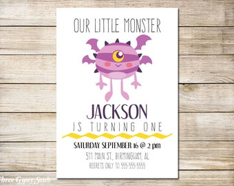 Monster Invitation Monster Birthday Invitation Monster Party  Little Monster Birthday Party Monster First Birthday Invitation