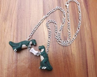 Dinosaur necklace, T-rex necklace on a silver plated chain