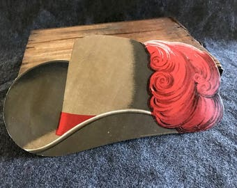 Unusual French chromolithograph paper Muskateer hat