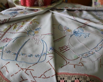 Pretty Vintage Embroidered Crinoline Lady & Tree English Garden Tablecloth 31.5 x 33.5""