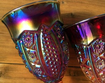 Carnival Glass Goblets, Sunset Indiana Iridescent Daisy Paneled Water / Wine Glasses, Sold in Pairs