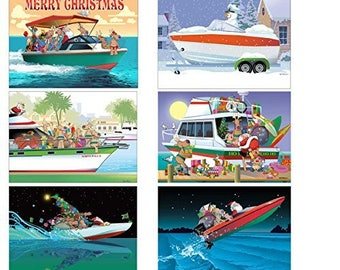 Boat Christmas Card Variety Pack - 24 cards & envelopes - 89