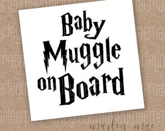 baby muggle on board decal, car decal, window sticker, gifts for mom