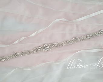 Beaded Bridal Belt, Beaded Sash Belt, Wedding Belt, Thin Rhinestone and Crystal Wedding Sash - Style 788