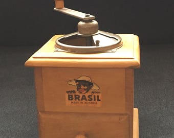 Vintage Brasil Maple Wood And Metal Coffee Grinder Mill With Hand Crank - Made in Austria