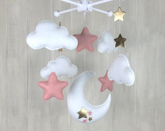 Baby mobile - moon mobile - star mobile - blush and gold nursery - gold stars - baby mobiles - baby girl - moon and stars - sky mobile