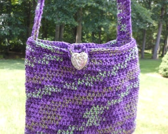 handmade crochet girl's purse, fully lined with button closure, ladies evening bag, purple and green colors, young ladies handbag for phone