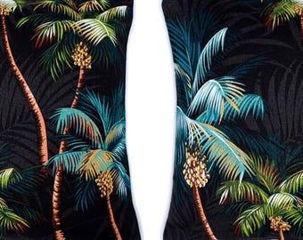 Pair of Tropical Cushion Covers - Palm Tree Black, Monstera Leaf Island Fabric Polynesian Hawaiian Sham Pillow Euro Coussin