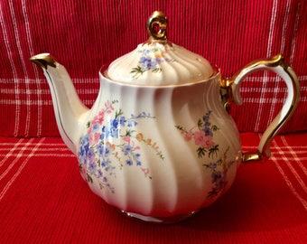 Vintage Sadler White & gold porcelain teapot with floral design