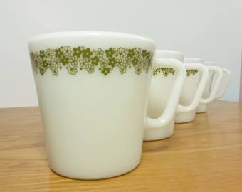 Vintage Pyrex Coffee Mugs Spring Blossom D Handle Set of Four / 1960s 1970s Crazy Daisy Milk Glass Corelle / Two Sets Four Available