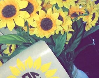 Monogram Sunflower Car Decal