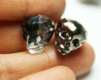 5pcs Crystal Glass Jewelry Skull Beads,Half Electroplate Plated, Rainbow/silver color,13*15mm, hole1mm -MCCR0237