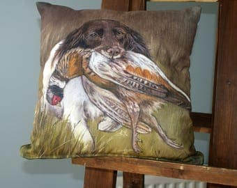 Spaniel With Pheasant Hunting Scene Square Washable Cushion By Artist Grace Scott