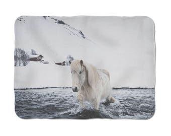 Animal Lover Gift, Horse Blanket, Icelandic Horse Print, Soft Sherpa Blanket, Sherpa Bedding, Sherpa Fleece, Thick Sherpa