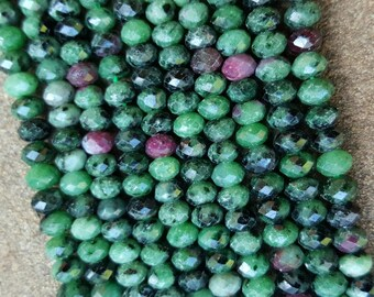"""Grade AA Natural Ruby in Zoisite Faceted Abacus Beads, 6mm x 4mm - 15.5"""" Strand"""