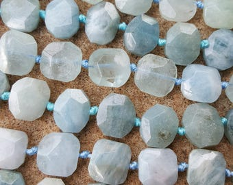 "Natural Aquamarine Bead Strands, Faceted, Flat Round, 14~17x12~14x7~8mm, Hole: 1mm, 15.7'"" Strand"