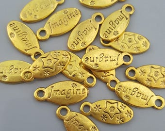 Oval Imagine Charms, 16x7mm - 10 Pieces - Select Gold or Antique Copper Finish