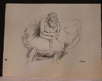 """Vintage Charcoal Sketch Lithograph by Degas - 20"""" by 26"""""""