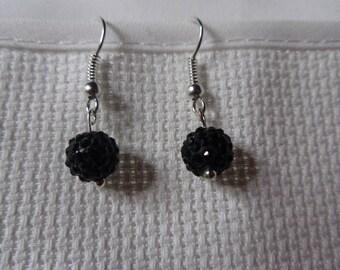 shamballa black earrings