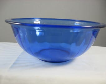 Pyrex 325, Clear Cobalt Blue Glass Ribbed 2.5 L Mixing Bowl 325