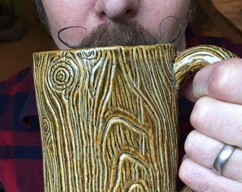 Lumberjack Mug, Morning Wood Mug, Lumbersexual, Handmade, coffee, 16oz, Large Manly pottery Mug, beard accessories, mens goods, gift for him