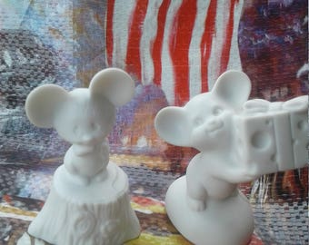 Set of Two Vintage Fine Bisque Porcelain 1975 Hallmark Mice Figurine/ Cheese / Tree Stomp