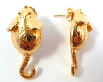 Vintage Mimi Di N Earrings, Gold Mice Earrings,  Designer Earrings.