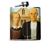 American Gothic Whiskey Flask, Premium hip flask, Classic Art print, Grant Wood Painting, Gift for Art Lover, bar accessory, Pocket flask