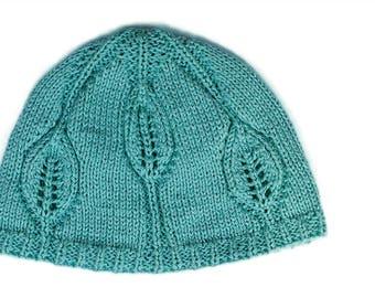 PDF knitting pattern, Knit hat pattern, Baby hat pattern, Leafy Baby hat.