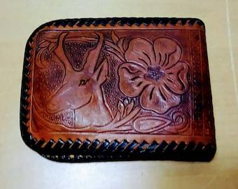 Vintage Deer Hand Tooled Billfold Wallet Mexico
