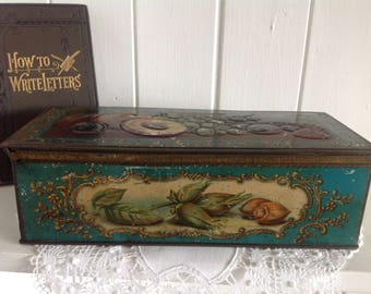 Beautiful Vintage Squirrel Toffee Tin Botanical Design Nuts and Fruits Shabby Chic
