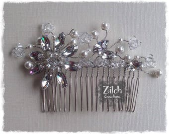 Swarovski crystal flower and pearl wired hair comb.
