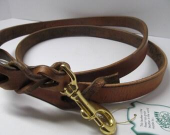 Hermann Oak harness leather dog leash  6 Feet Blood knot