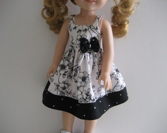 14.5 Inch Doll Clothes - Black and White  Sundress made to fit dolls such as the Wellie Wishers doll clothes
