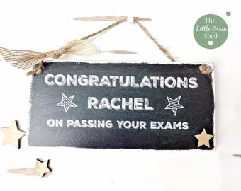 Chalkboard Style Congratulations Plaque Exams Sign Keepsake Personalised