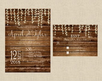 Rustic Wedding Invitation Set Barn Country Light Strings