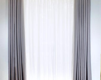 White Border Grey Cotton Ripplefold, Pinch Pleat, Top Tack Drapery Curtain