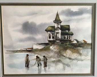 Original Watercolor by Robert Fabe.  Listed Artist.