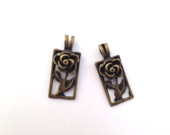 2 charms / pendants pink and rectangular bronze 26x11mm