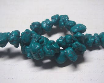 """3 large beads 23x15x8mm stabilized turquoise """"nuggets"""" / / 13x13x11mm"""