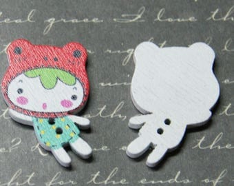 2 red and green girl 21x29mm painted wooden buttons