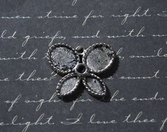 Butterfly silver metal charm ready to customize 24x20mm