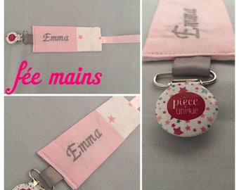 Pacifier in pink and white cotton fabric with embroidery name stars