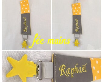 Pacifier clip personalized grey and yellow cotton fabric with embroidery name stars