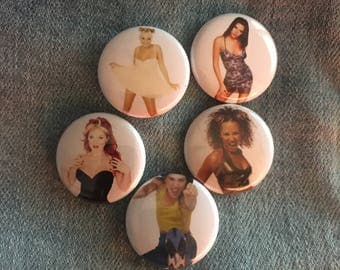 SPICE GIRLS pins, 1 inch pin back button, Spice Girls Pins