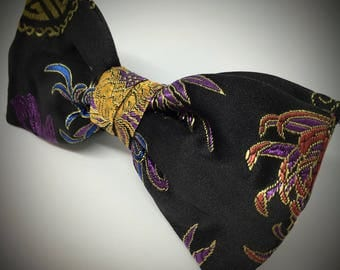Handmade Black Chinese Embroidery Bow Tie