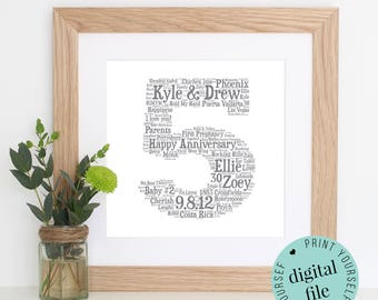 5th ANNIVERSARY GIFT - Word Art - Printable Gift - 5 Year Anniversary - 5th Wedding Anniversary - Wooden Anniversary - Personalised Gift